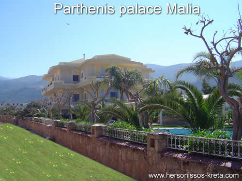 Parthenis palace malia crete, beautiful surroundings, gardens. Bookingsinformation, pictures and description of the apartments.